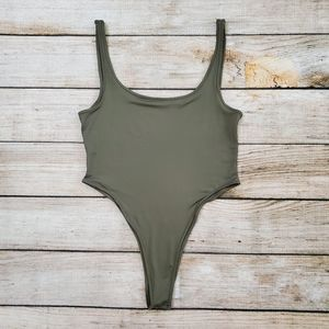 Olive Green Scoop Neck Tank Top Bodysuit